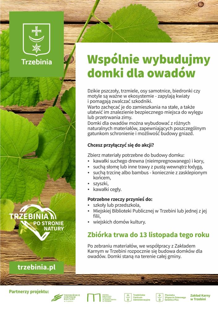 Plakat zbiórka materiałów na domki dla owadów